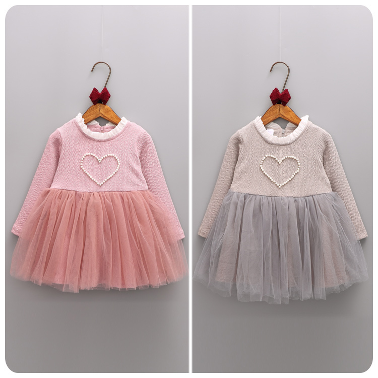 2016 Autumn New Pattern Korean Childrens Garment Girl Baby Nail Bead Embossed Yarn Split Joint Dress Girl Princess<br>