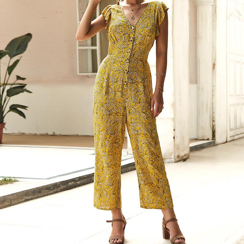 Women Floral Wide Leg Rompers Sleeveless Female Ruffle Jumpsuit S-XL