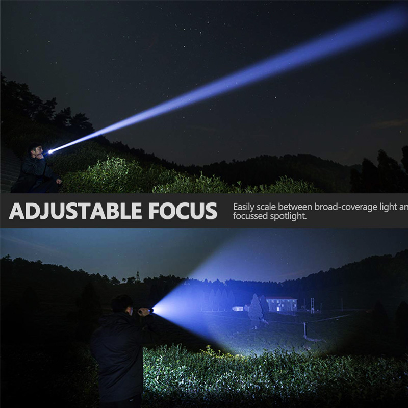 Lighting - XHP90 LED Flashlight Zoom USB Rechargeable Power Display Powerful Torch 18650 Handheld Light