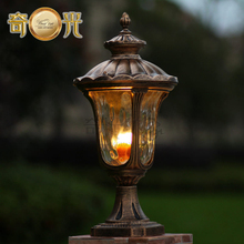 waterproof garden pillar light fitting aluminum 220V/110V bronze europe wall column outdoor post lamp warm white/cool white(China)