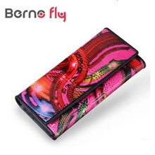 Vintage Flower Printed Ostrich Red Wallets for Ladies Long Clutches With Coin Purse Card Holder Fashion Leather Women Wallet(China)