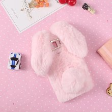 3D Cute Rabbit Doll Furry Plush Soft Fur Case for Huawei Mate 10 Pro Hairy Bunny Diamond Bowknot Coque Capa Cell Phone Cover(China)