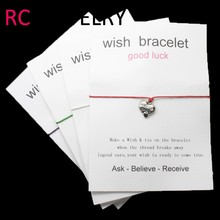 E501 Greeting gift heart bracelets Wax bracelet can be customized(China)
