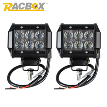 RACBOX 2pcs 4 inch 18W LED Work Light Lamp Bar Flood Spot With Cree LED Chips 12V 24V for Tractor Boat Off Road 4WD Truck SUV