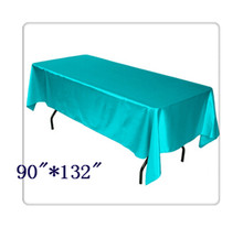"Free shipping rectangle tablecloth size 90""*132"" color turquoise for wedding decoration /table linens for weddings"