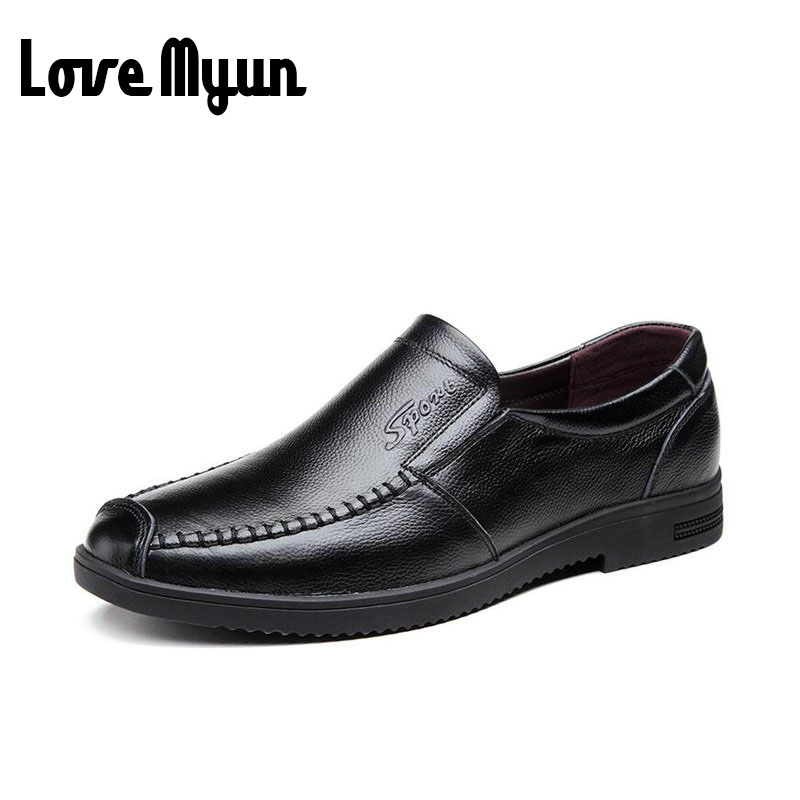 2017 New Fashion mens slip genuine Leather shoes Oxfords soft flats mens shoes casual Middle-aged Loafers Driving Shoes AF-08