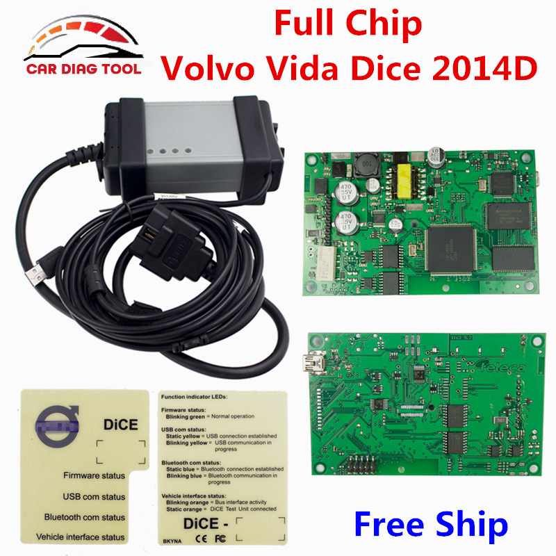 Free Shipping For Volvo Vida Dice 2014D OBD2 Diagnostic Tool Full Chip For Volvo Dice Pro Green Board Vida Dice Pro Code Reader(China (Mainland))