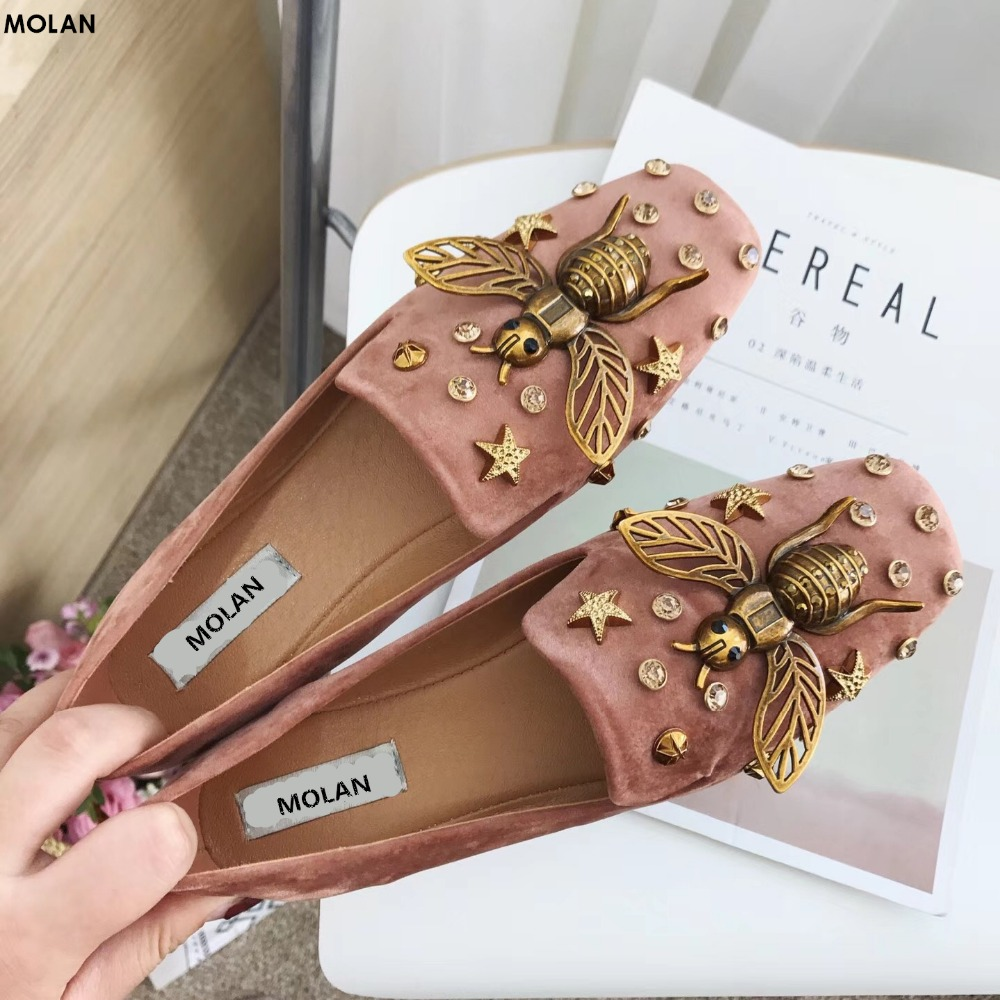MOLAN Brand Designers 2018 Fashion Superstar Sweet Metal Rivet Animal Bee Soft Flat Shoes Square Toe Slip On Suede Loafers<br>
