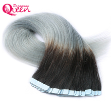 1B Silver Tape In Human Hair Extensions Brazilian Straight Hair Skin Weft Hair Machine Made Remy 20pcs/Set Dreaming Queen Hair(China)