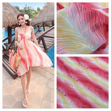Rose red and yellow gradient printing chiffon fabric / Japan and South Korea fabric / female coat skirt fabric / gradient clothi(China)