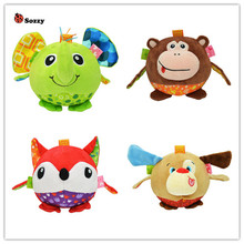 Sozzy baby Soft Stuffed Plush Animal elephant monkey  bed Rattles bell cloth ball Early Education Developmental toy 40%off