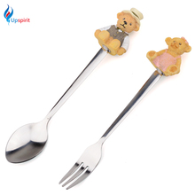 2Pcs Cute Stainless Steel Coffee Teaspoons Forks Dinneware Set Cartoon Handle Decor Cake Dessert Fork Kids Children Tableware(China)