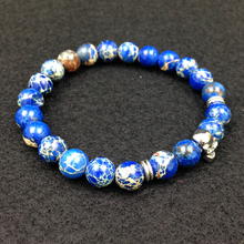 SN0556 Man High Quality Skull Charms Bracelet Blue Sea Sediment Stone wristband Gold Charm Jewelry for Men and Women gift