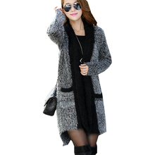 2016 autumn winter new sweater women's long wind Europe US sweaters mohair cardigan shawl jumper clothing vestidos MMY149(China)