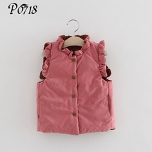 Winter 2018 Baby Girls Warm Clothes Infant Ruffles Thicken Children Outerwear Coats Kids Cashmere Vests Waistcoats 2 3 4 5 Years