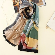 High quality New Luxury brand Design elegant Silk & Satin Printed multicolor geometry Scarf Women Large Thin Silk warm Shawls(China)