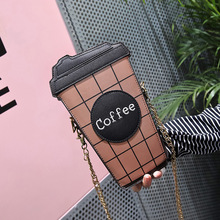 Personality Funny Coffee Cup Shoulder Bag for Girls Letter Design Plaid Chain Clutch Ladies Messenger Bag Women Shoulder Bags