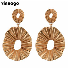 VINNAGO Vintage Corrugated Abstract Statement Earrings Gold Color Geometric Big Earrings Long African Jewelry Earrings for Women(China)