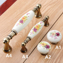 "128mm Vintage rural ceramic dresser doorhandles bronze drawer cabinet knobs pulls 96mm rustico retro furniture handles 3.75"" 5"""