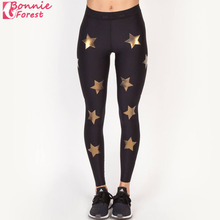 Bonnie Forest Five-pointed star bronzing Women Sexy Yoga Pants Gym Leggings Running Black Long trousers Lady Sports Wear Hot