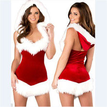 2017 New Sexy high quality Red dress white flash Velvet Santa Claus Adult Girls Xmas Party Outfit  Christmas Fancy Dress Women