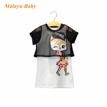 Malayu Baby Europe 2017 Summer New Kids Cartoon Hello Kitty Black Mesh Short Sleeve Jacket + Vest Dress Two-piece suit for 2-7 Y