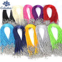 Hot Sale 1.5MM 10pcs 17 Colors Faux Leather Cord Chain Adjustable Necklace with Lobster Clasp For DIY Jewelry Findings