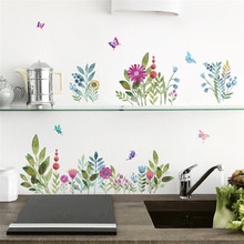Colorful 3D Butterflies Flower Floral wall stickers Garden Wall Decals Christmas birthday party decoration refrigerator poster(China)