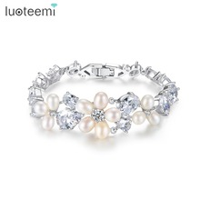 LUOTEEMI Ladies' Freshwater Pearl and Cubic Zirconia Bridal Outstanding Flower Bracelet Bangles for Women Wedding Party Jewelry(China)