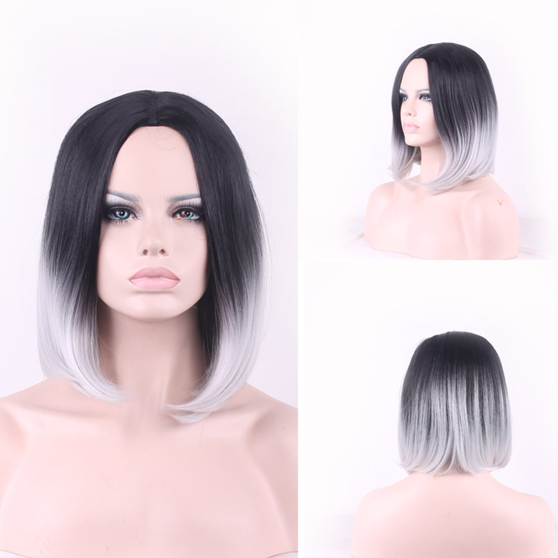 peruca side part bob hair wigs synthetic wigs heat resistant cosplay sexy wig women straight tone color black and grey ombre wig<br><br>Aliexpress