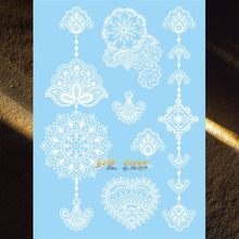 Latest Henna Flower Design Flash White Ink Color Temporary Tattoo Brides Wedding Tattoo Makeup Tips 20x15CM Hands Bracelets Art
