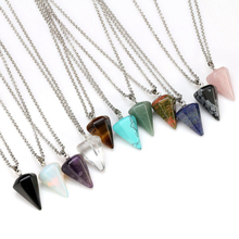 Colorful Boho Natural Cone Crystal Pendant Quartz Chakra Healing Stone Reiki Necklace Fashion Women Girls Jewelry(China)