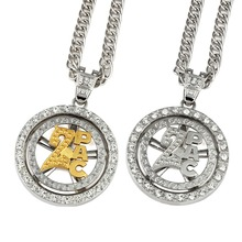 MEN'S Jewelry Round Rotating Bling CZ 2pac Tupac Pendant Necklace High Quality Hip Hop Cuban Link Chain(China)
