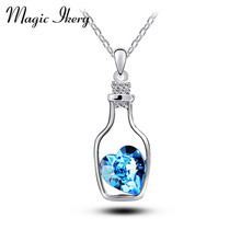 Magic Ikery AAA Cubic Zirconia  Genuine Crystal Necklace Necklaces Gift Ideas Drift Bottles Pendant Going Heart  MKS503