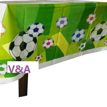 CAMMITEVER 1pc Green Football Theme Happy Birthday Party Decoration Kits Supplies Soccer Ball Table Cloth Covers(China)