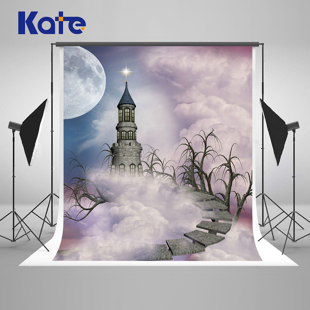 Kate  Castle Backgrounds For Photo Studio With Moon Cloud Photography Backdrops Children High Ladder Photo Background<br>