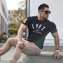 Brand men's Fashion t shirt Men Crossfit Tops summer New Fitness Bodybuilding clothes Muscle Male shirts Cotton Slim fit Tees