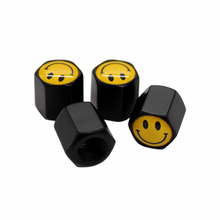4pcs Black Car Badge Wheel Tire Valve Cap Happy Smile Face Logo Car Styling Auto Tyre Dust Cap for Audi Ford VW BMW SEAT(China)