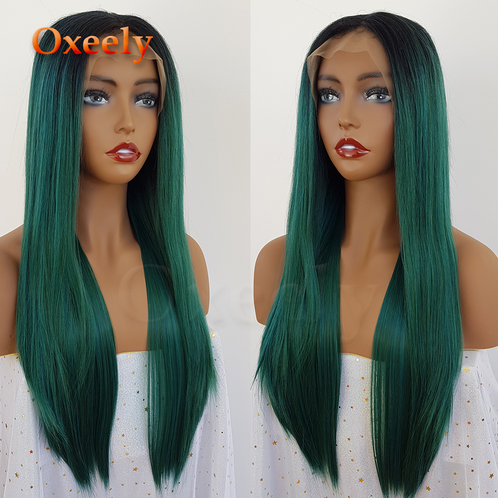 Oxeely-Green-Synthetic-Lace-Front-Wigs-Ombre-Green-Silky-Straight-Wigs-Glueless-Natural-Hairline-180-Density (1)