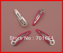 50PCS 5.0cm expoy finish fushia round head plain metal snap hair clips with cross hole at nickle free and lead free(China)