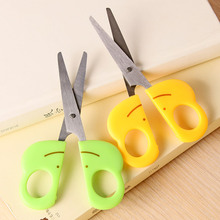 1 Pc Carton Frog Kids Scissors DIY Student Safety Scissors With Cap Green And Yellow 122mm Deli 6031