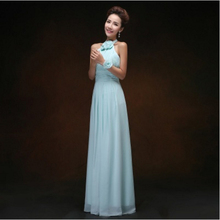 robe soiree 2017 fashion chiffon formal halter light blue party dress long women evening gown night gowns dresses H2488