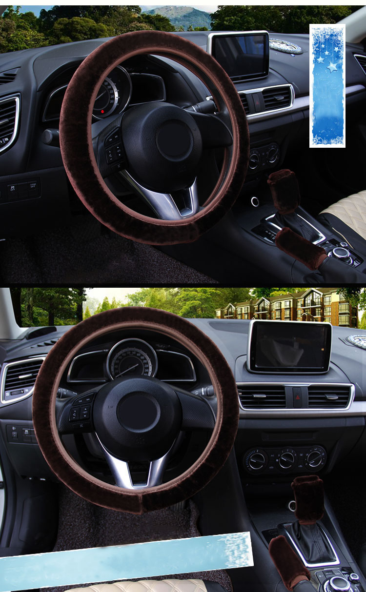 winter Steering Wheel Cover+Handbrake cover + car Automatic Covers / Warm Super thick Plush Gear Shift Collar 14