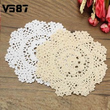 Vintage Cotton Yarn Table Mat Coasters Round Hand Crocheted Lace Doilies Home Dining Table Decorative Accessories Fabrics