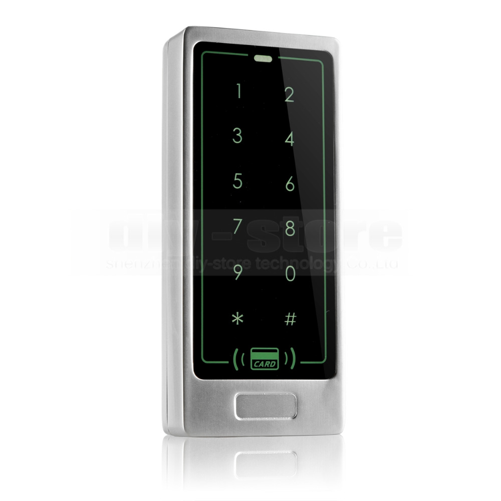 DIYSECUR 8000 User Access Controller Metal Case 125KHz RFID Reader Password Touch Keypad Backlight Key C10<br>