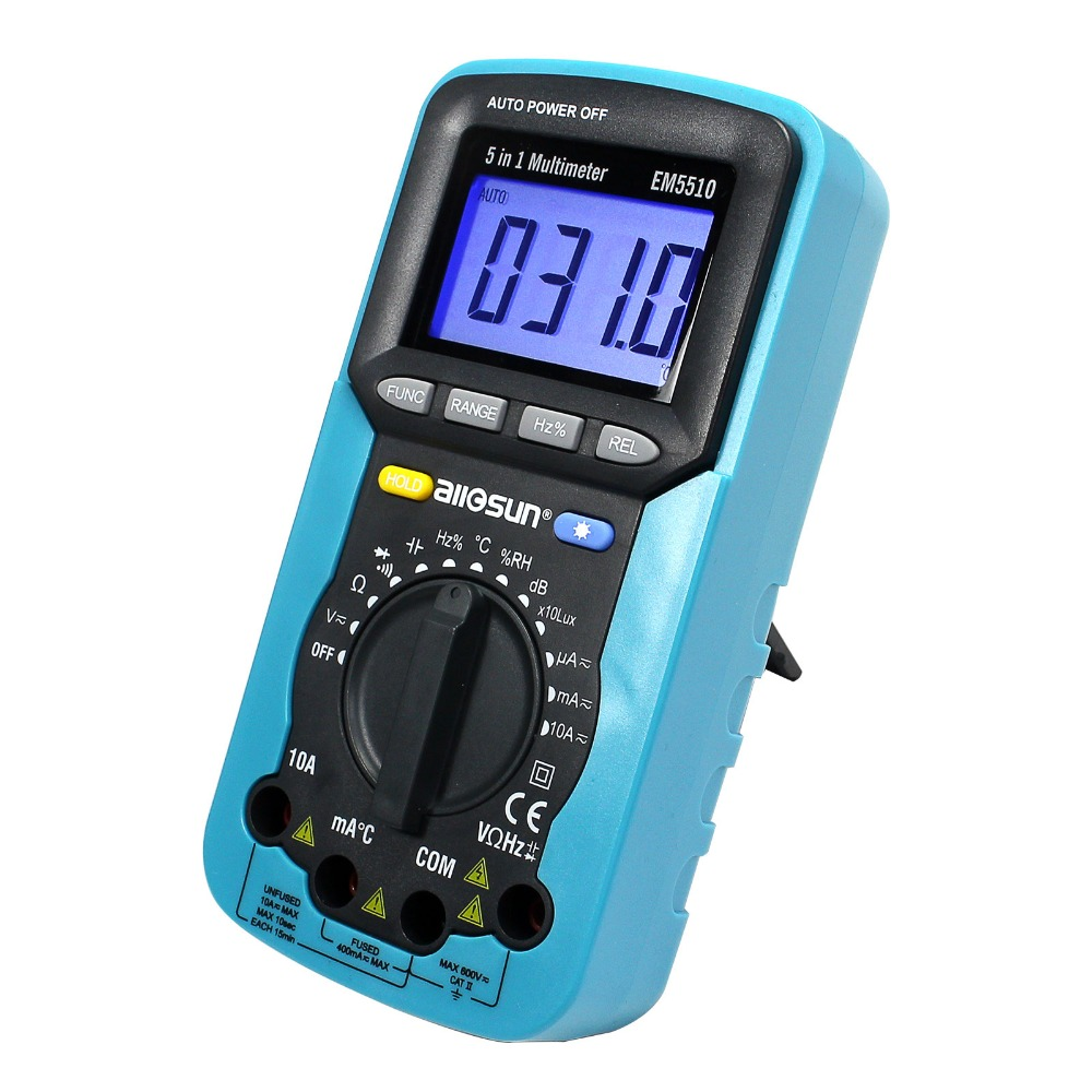 5 in 1 Digital Multimeter Sound Level Humidity Luminosity Temperature LCD AC/DC Multimeter Volt Amp Ohm Tester EM5510 all-sun<br>