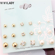 VIVILADY Romantic Cute 9 Pairs/set Imitation Pearls Metal Balls Crystal Nickel Free Stud Earrings Femme Kid Teenage Jewelry Gift