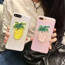 Korea Fashion Handmade Embroidery 3D Summer Fruit Pineapple Pearl Cortex Case Cover For Iphone6 6S 7 6Plus 7Plus