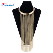 Buy Gold Silver Gun Black Long Chain Tassel Necklaces & Pendants Metal Fringe Statement Necklace Women Collares Jewelry Gifts Party for $8.14 in AliExpress store