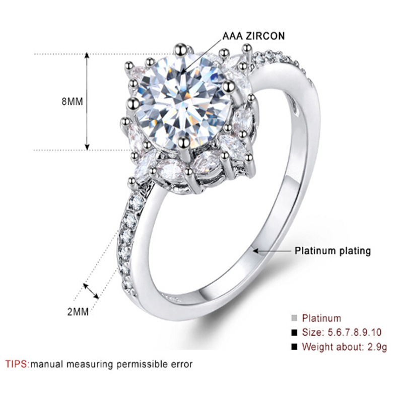 Limited edition Wedding ring Special moment for her Best gift Simple Top quality Silver Ring Engagement anel feminino 6